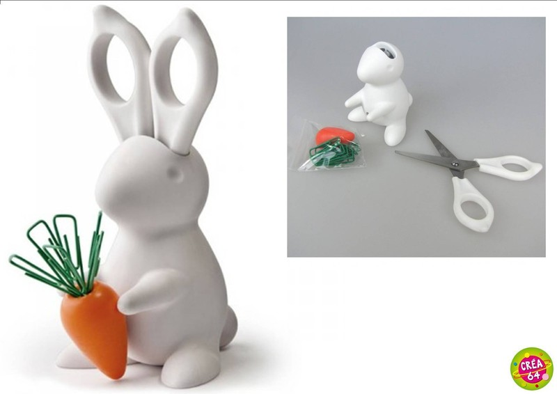 Porte ciseaux et trombones lapin qualy blanc for Decoration porte lapin