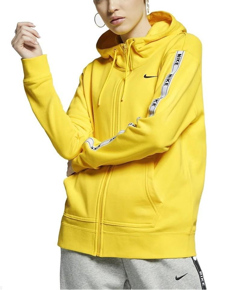 check-out 8d966 a475e Sweat a capuche Femme Nike NSW HOODIE FZ LOGO TAPE jaune